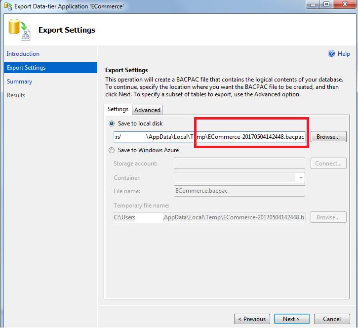 Import  BAK file to Azure SQL Database – Developer Source